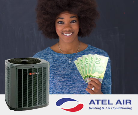 woman-holding-Canadian-money-ATEL-logo-air-conditioner