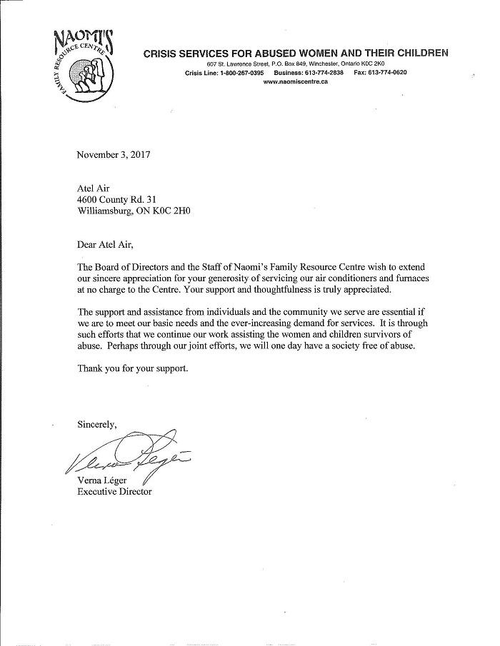Naomis Family Centre Letter