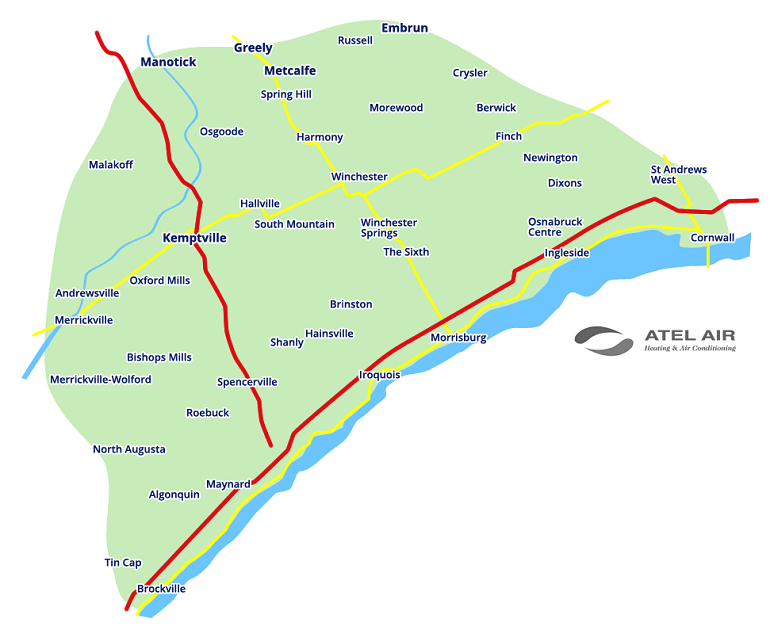 ATEL Air Service Area Map, highlighting Kemptville, Manotick, Greely, Metcalfe and Russell